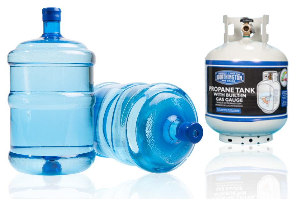 Bottled Water and Propane Tank